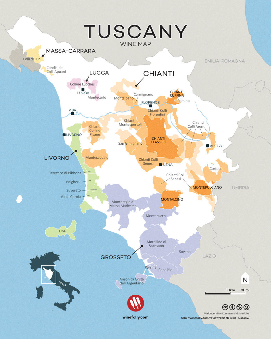 Tuscany wine map showing Chianti and Chianti Classico areas - from Wine Folly, CC